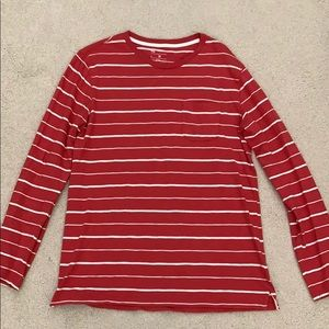 GAP Red and White Striped Long-Sleeve Shirt